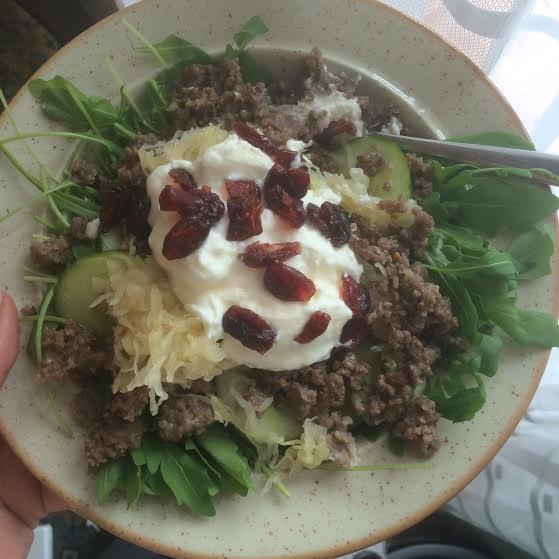 Typical lunch - arugula, ground lamb, duke, sauerkraut, yogurt and a few dried cranberries