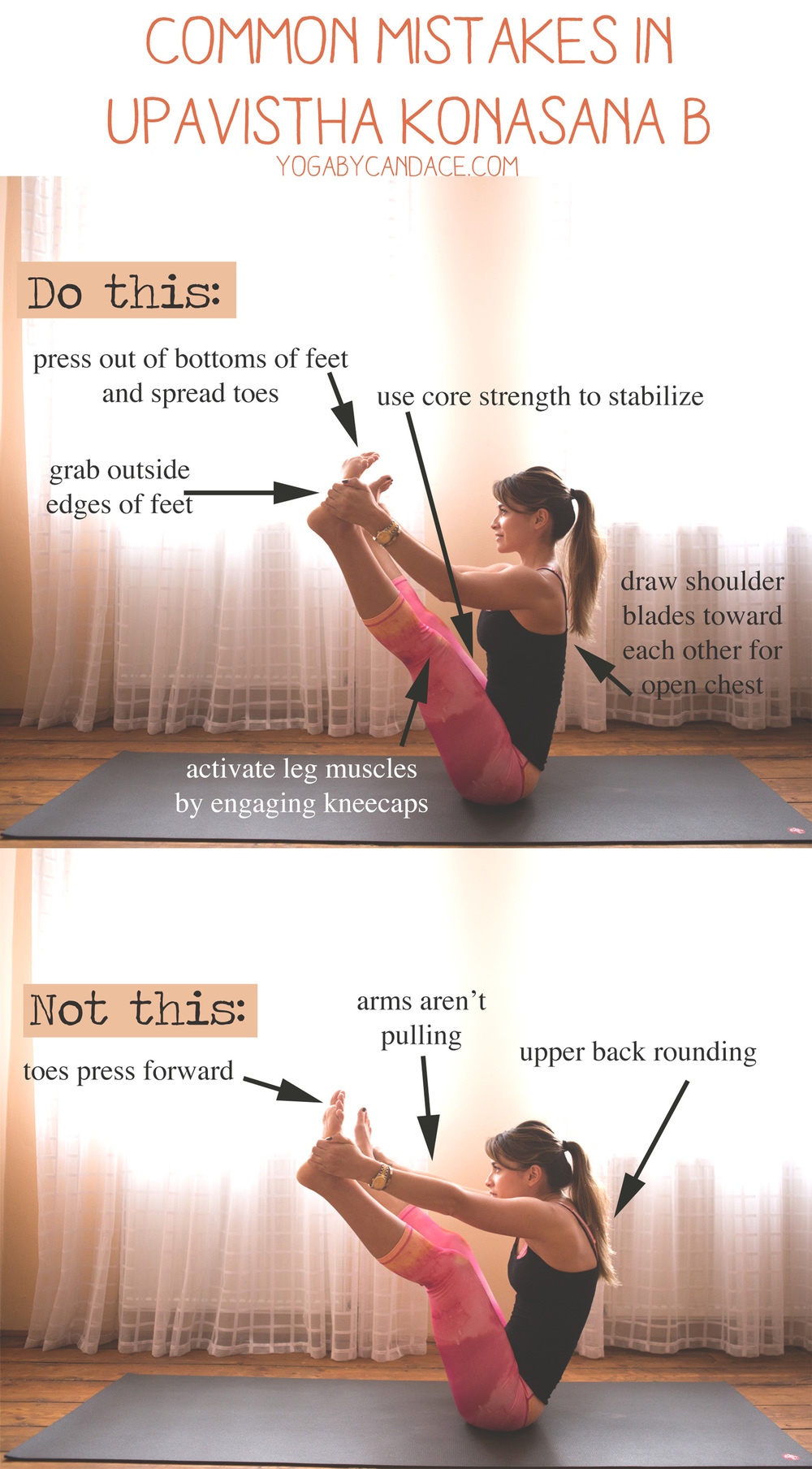Pin now and practice later! Common mistakes in Upavistha Konasana B Wearing: Glyder capris. Using: Manduka mat.