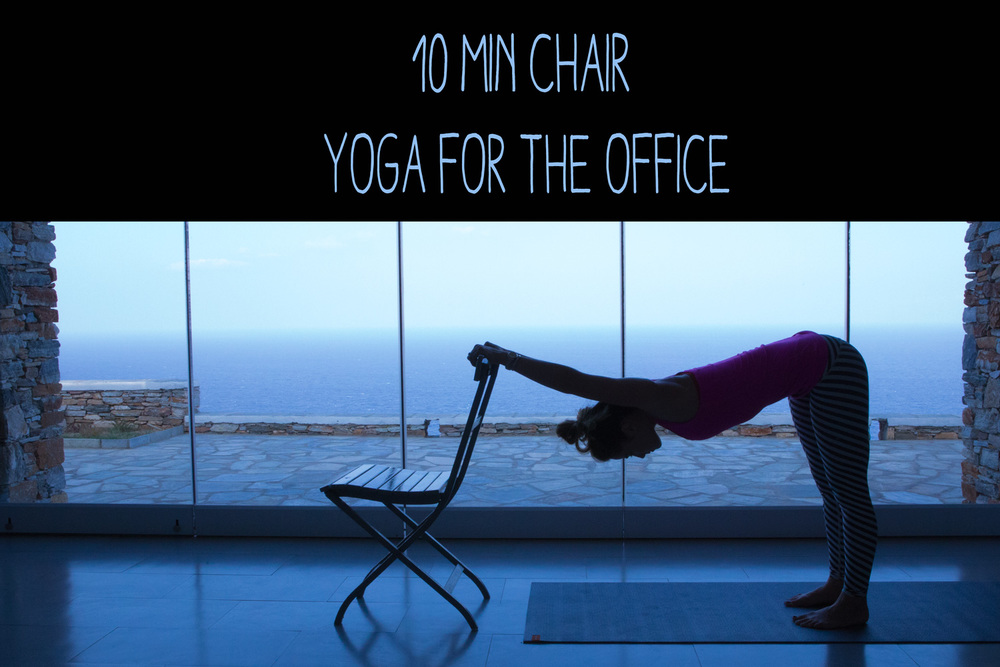 Pin now, practice later - a 10 min chair yoga flow for the office  Wearing:  teeki pants , lululemon top.