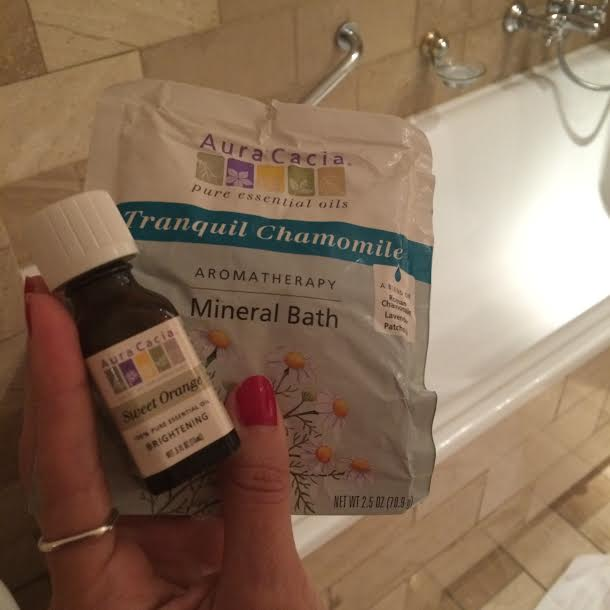 Bathtime! Using Aura cacia mineral bath & sweet orange essential oil