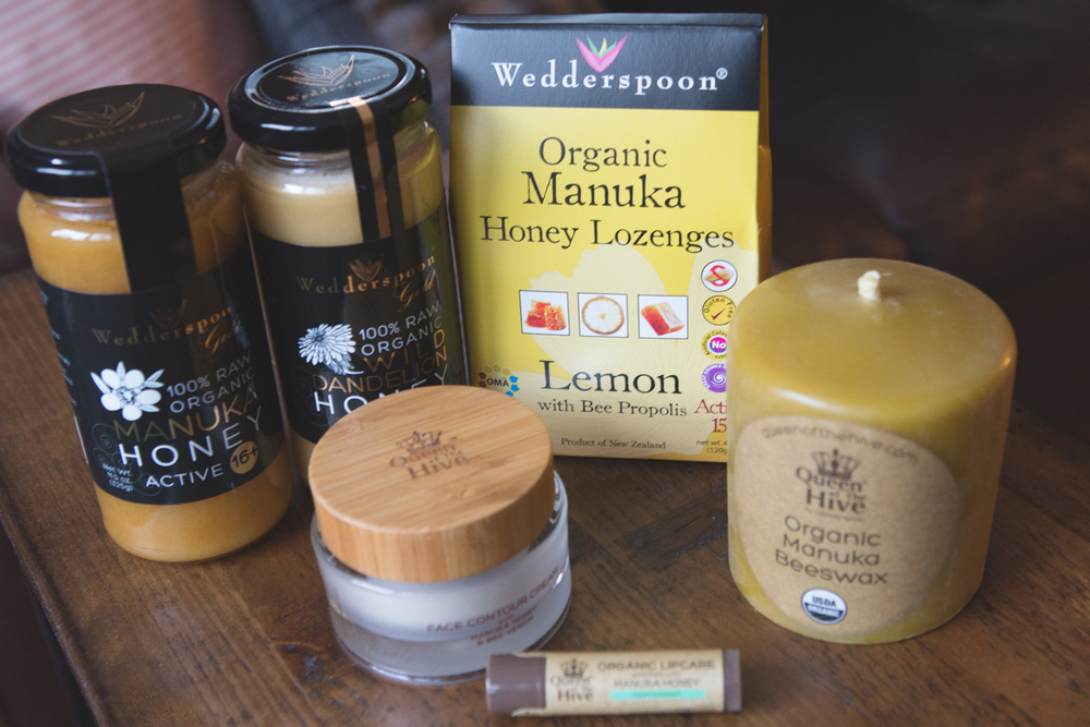 Pin it! Manuka honey, Dandelion honey, face contour cream, lip balm, lozenges, beeswax candle.