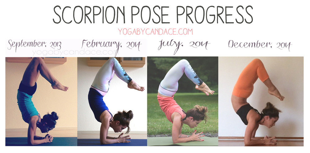 Scorpion pose progress Wearing:  Left - velvet tank, lululemon shorts. Middle left: f21 basic tank, teeki pants, Middle right: same teeki pants and loft tank (same style), Right: lululemon capris (diff color), alala zip bra c/o