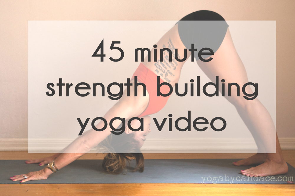Pin now, practice later! Full 45 minute FREE strength building yoga video.  Wearing:  Lululemon shorts , athleta bra ( similar on sale ).