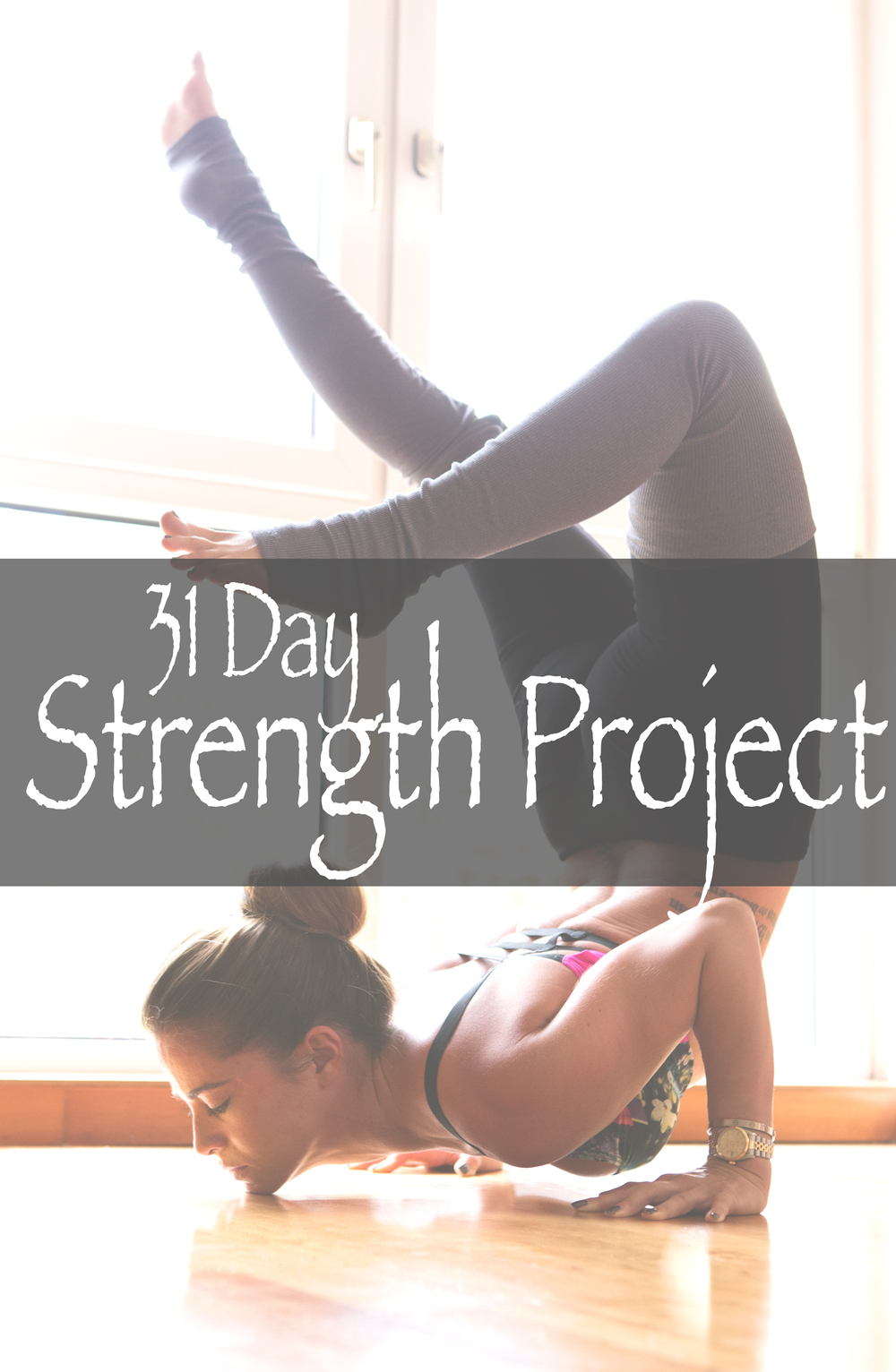 Pin it and join in on our 31 day yoga for strength project and watch your practice grow.  Wearing:  Onzie bra ,  Alo pants .