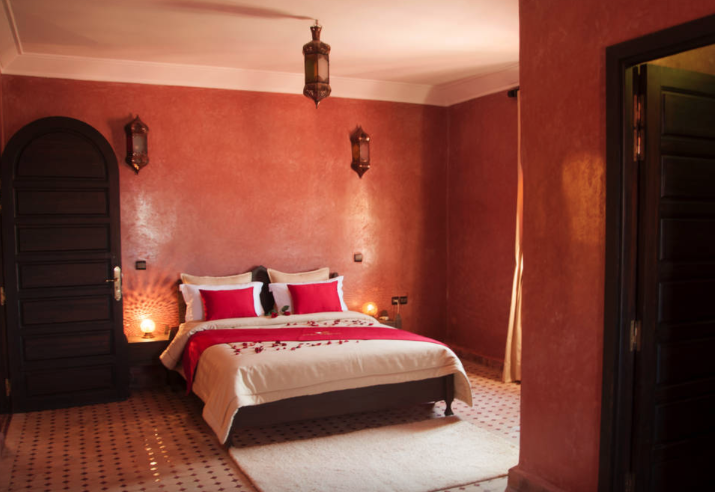 A room at our Morocco retreat. All rooms have en suite bathrooms.