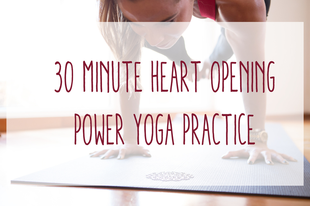 Pin now, practice later! 30 Min Power Yoga - Heart Opening Wearing: Alo yoga bra (on sale!)
