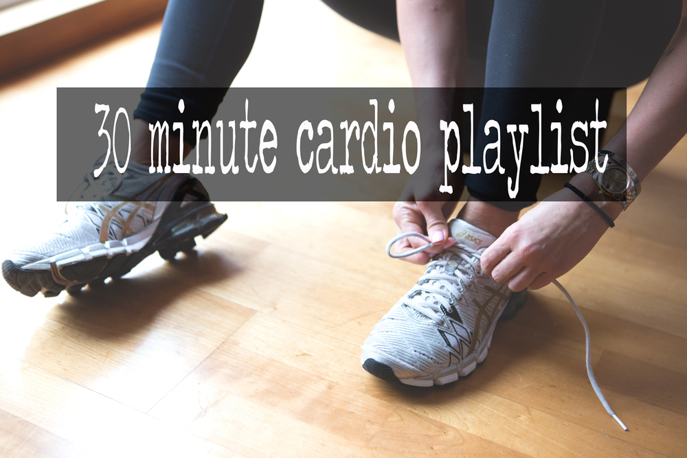 Pin it! 30 Min Cardio Playlist.  Wearing:  Asics sneakers ,  opi polish ,  lululemon leggings