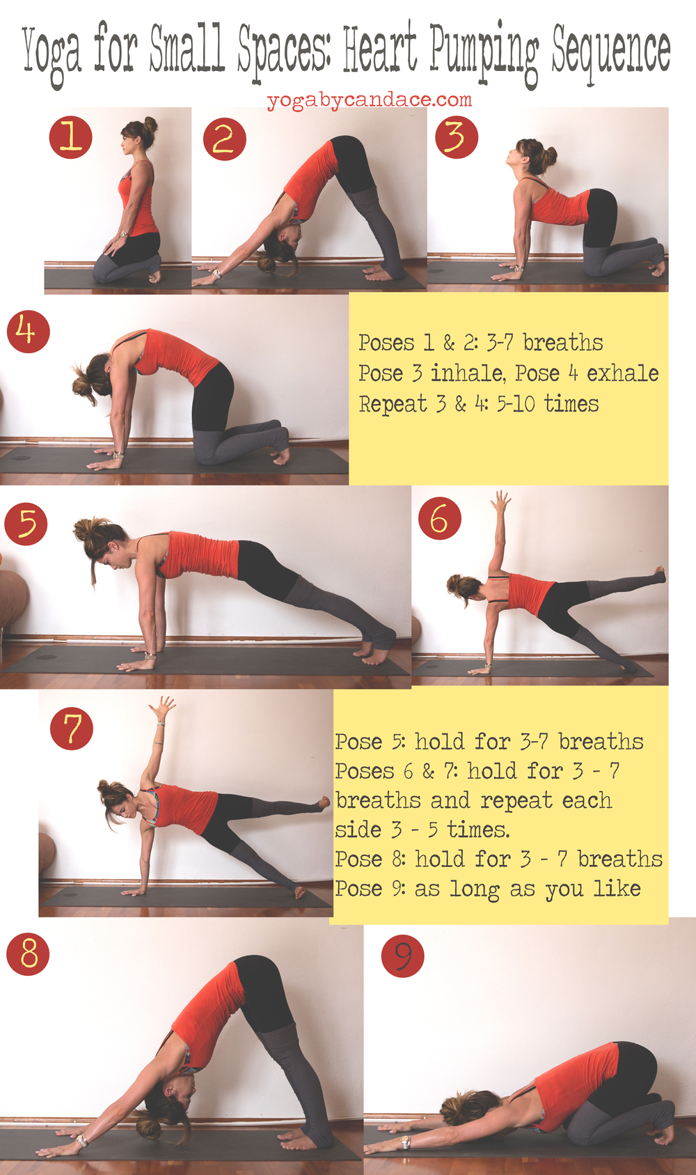 Pin now, practice later. Yoga for small spaces: heart pumping sequence Wearing: alo pants.