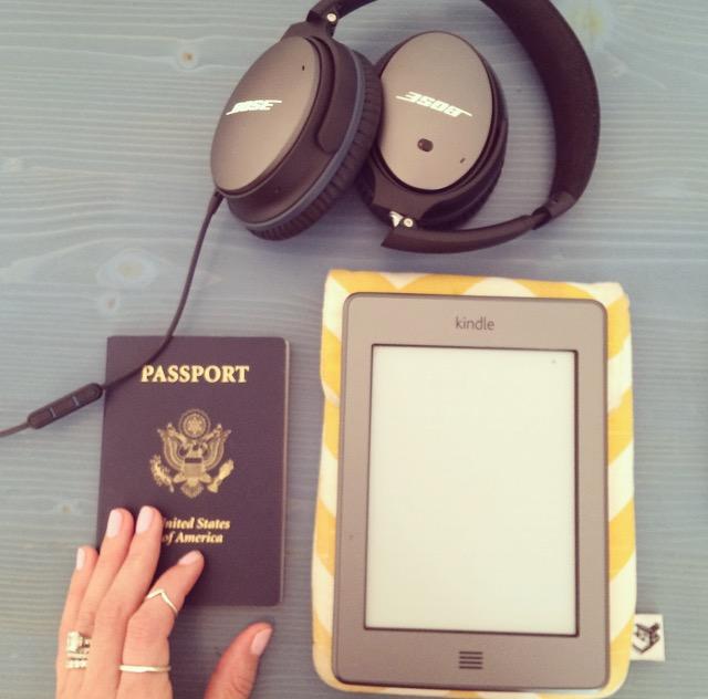 Flight essentials headphones, kindle, kindle case (similar)