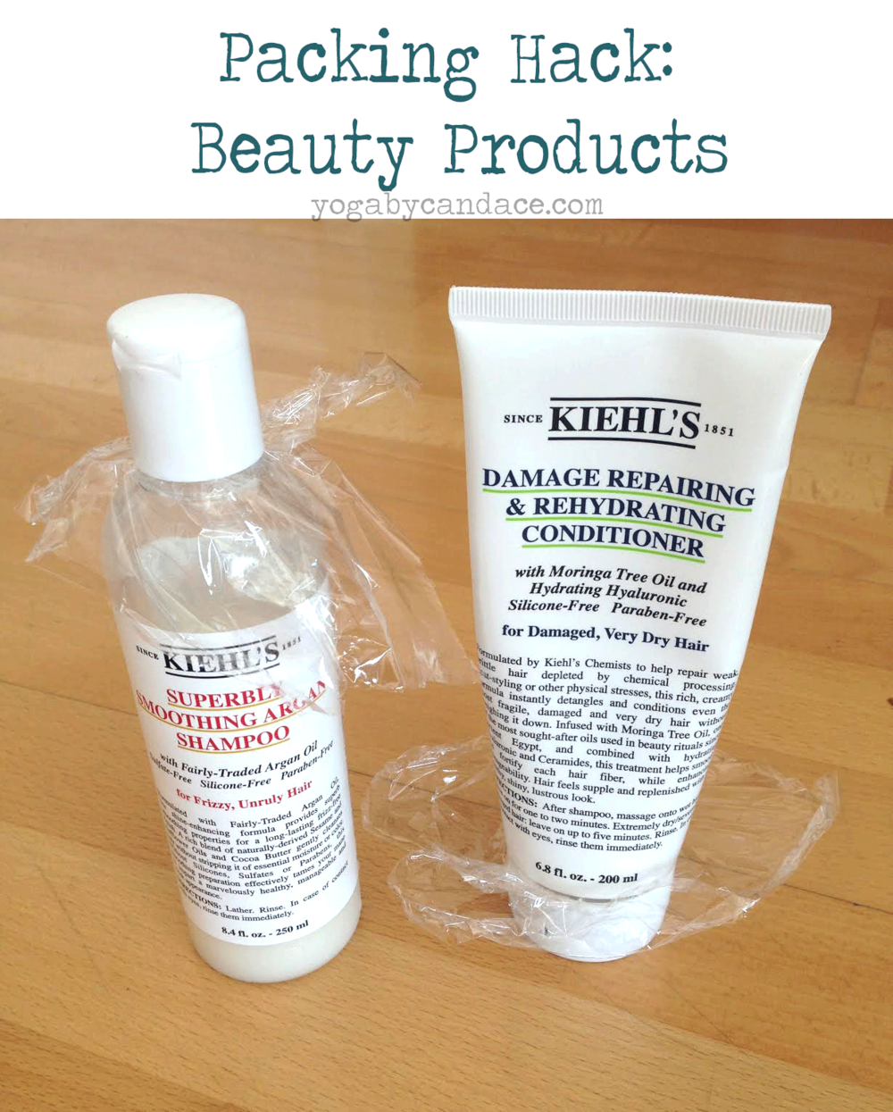Packing tips for your beauty products Using: Kiehl's shampoo, Kiehl's conditioner