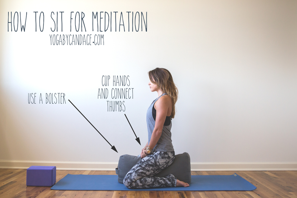 Pin now, practice later- ways to sit for meditation Wearing: sweaty betty pants, montiel tank, hard tail bra (similar). Using: blocks, bolster, yoga mat.