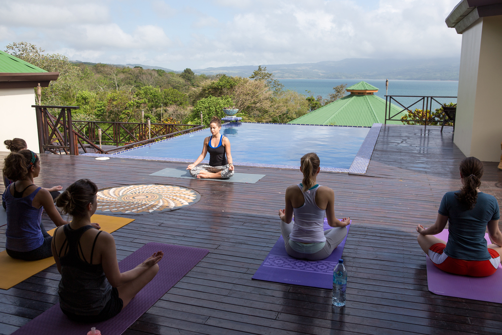 Morning yoga at our jungle venue