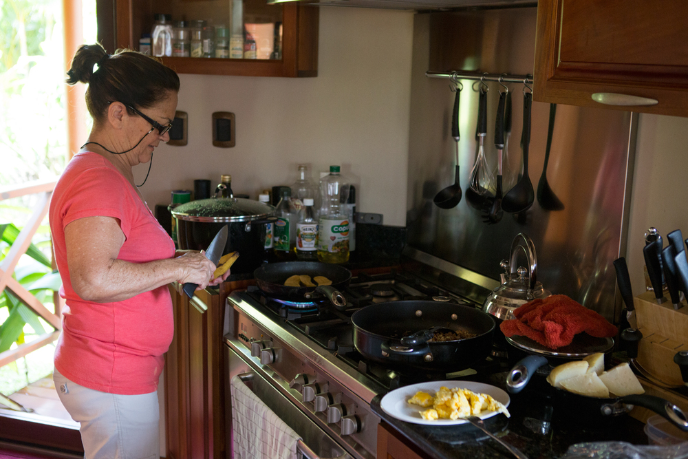 Cecilia, our lovely chef, making fried plantains for breakfast