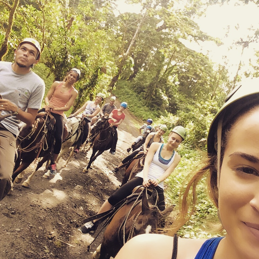 Horseback riding with the group!
