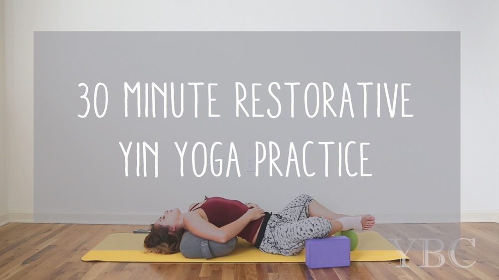 Pin now, practice later - 30 minute restorative yin yoga practice Wearing: sweaty betty pants. Using: lole mat, manduka bolster, gaiam blocks and a prana block.
