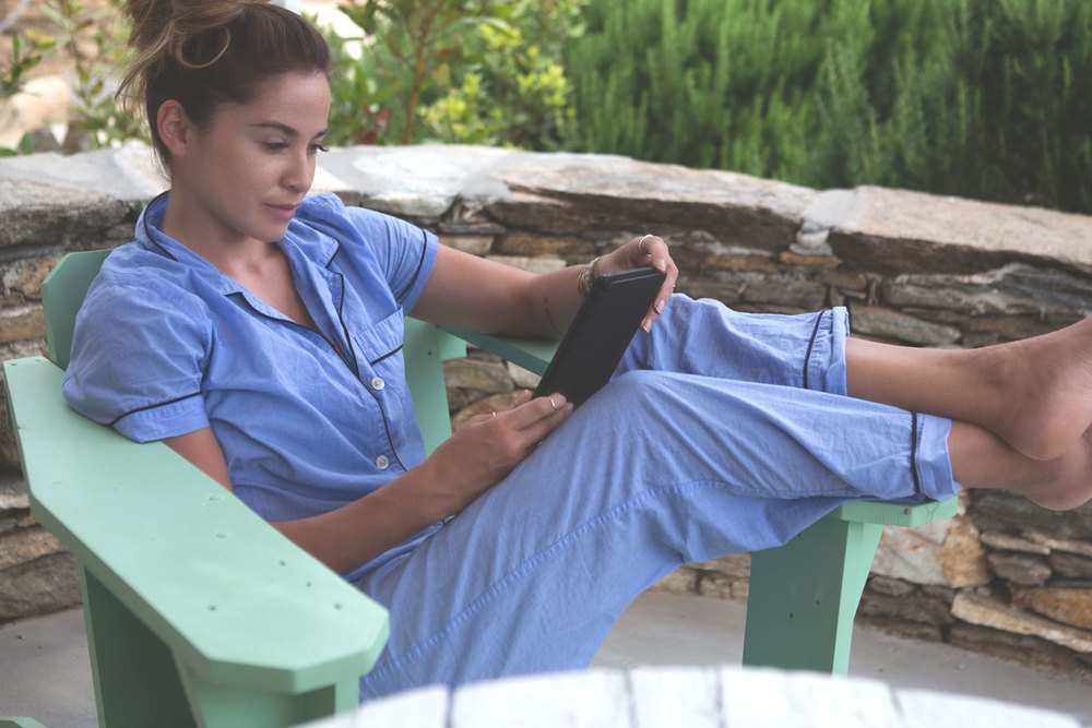 Favorite loungewear Wearing: j crew pj set. Using: Kindle Fire.