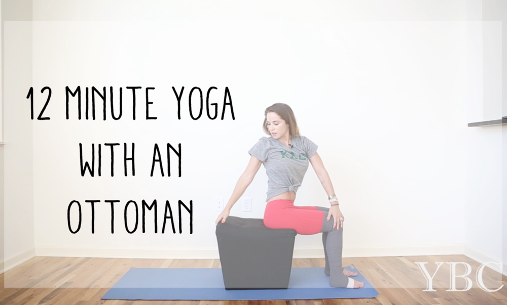 Pin now, practice gentle yoga with an ottoman  Wearing: alo yoga pants, sub_urban riot kale tee