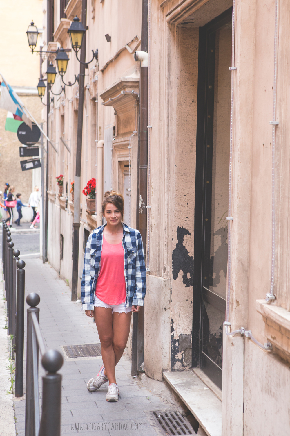 Quick trip to Rome  Wearing:  tank ,  flannel , shorts ( similar , more  budget friendly ), sneakers ( similar ).