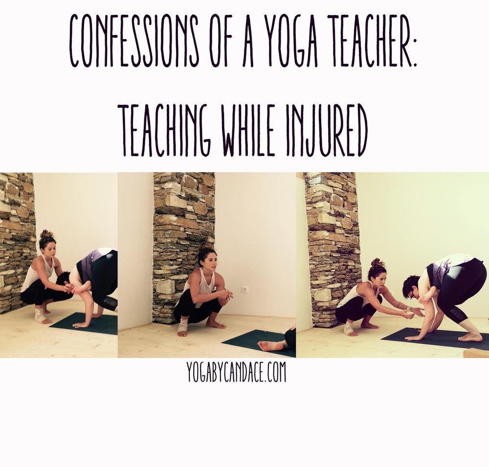 Pin now, read later - confessions of a yoga teacher: teaching while injured.  Wearing: Athleta shirt ( similar ), athleta pants ( similar on sale )