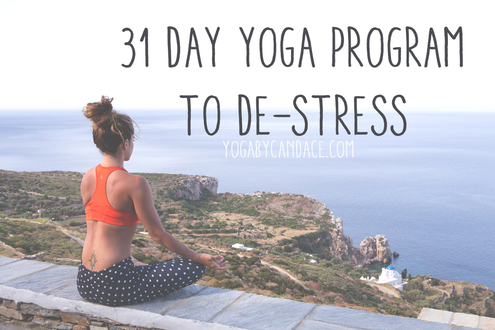 Pin now and join in - totally de-stress in 31 days!  Wearing: kira grace leggings, athleta bra (similar).