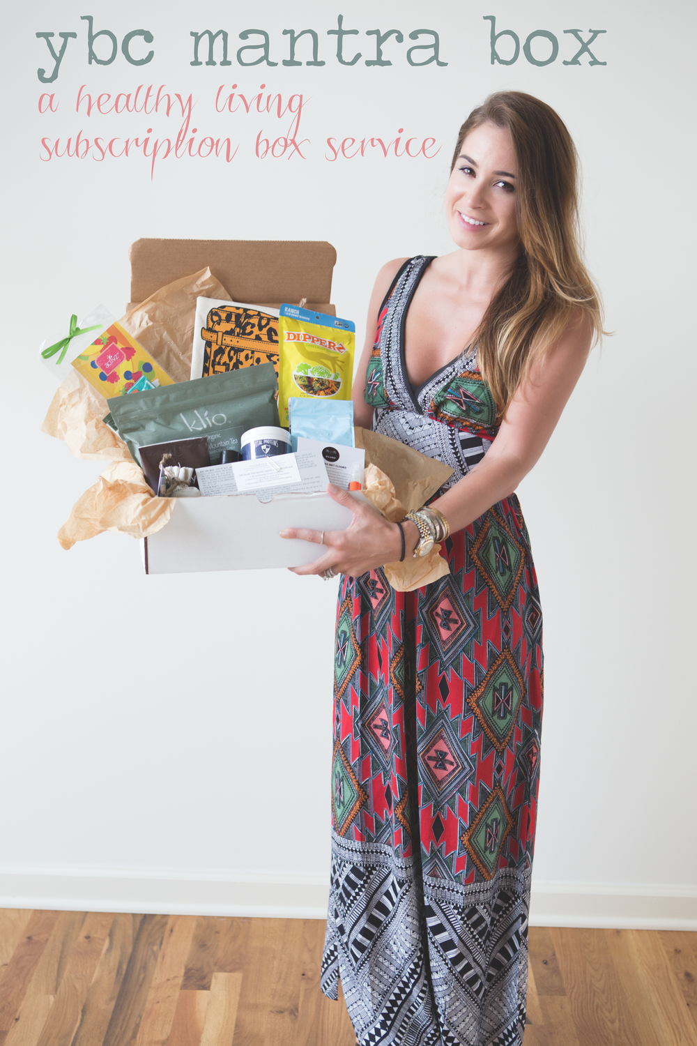 Pin now and tell all your friends about the YBC Mantra Box - a healthy living subscription box  Wearing:  Tribal maxi dress