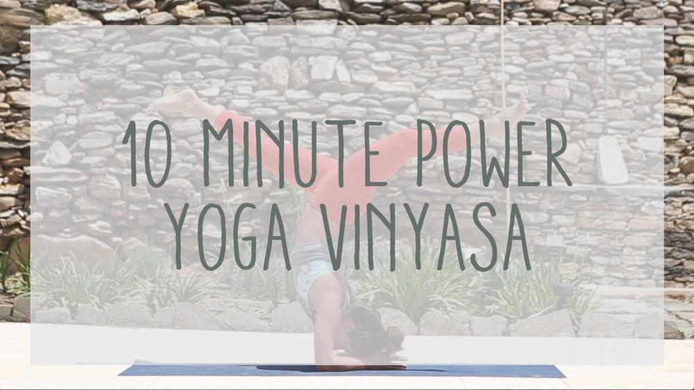Pin now, practice later - 10 minute power yoga vinyasa video Wearing: yoga pants, shirt, reebok bra.