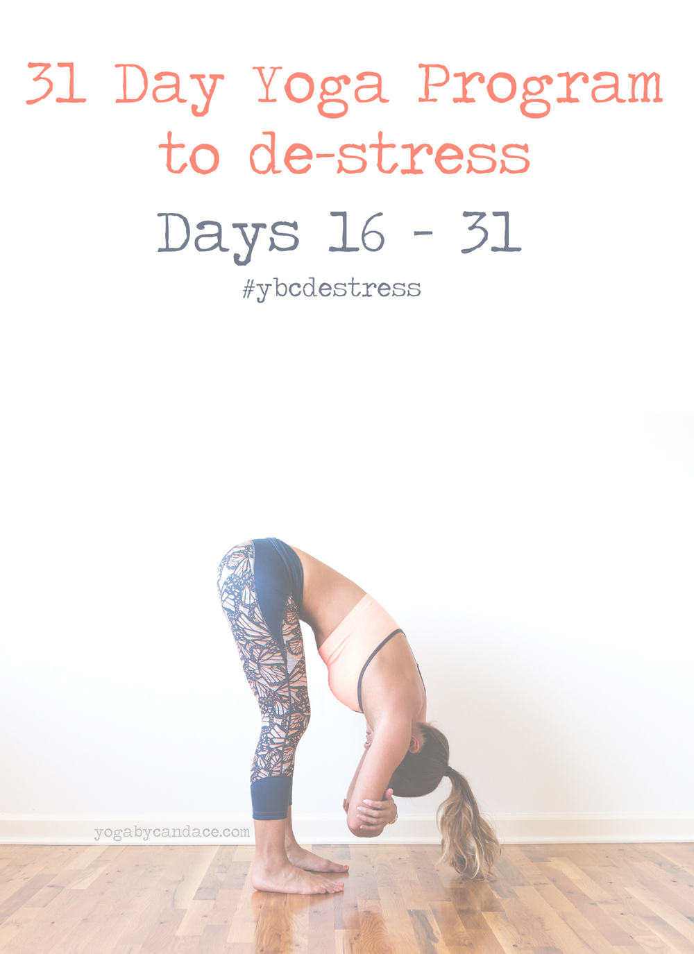 Pin now, and de-stress with this free yoga program!  Wearing: sweaty betty pants (similar) and bra.