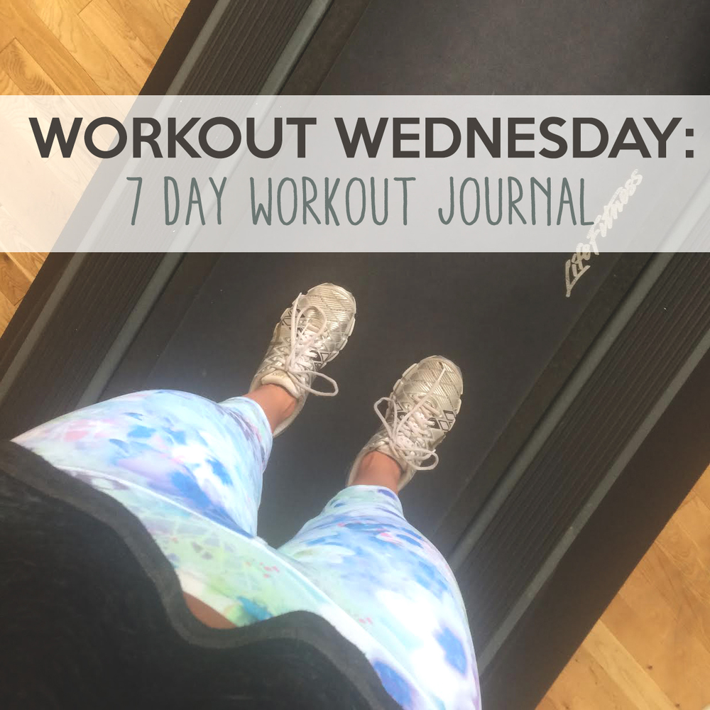 Pin now and check out my 7 day workout journal. Wearing: alo yoga pants, asics sneakers, f21 crop top.