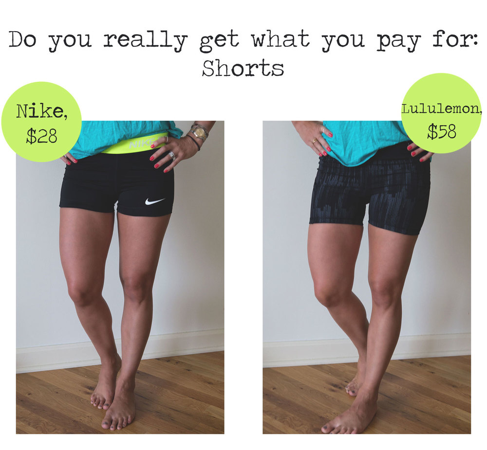 Comparing two pairs of shorts to see if it's true that you get what you pay for. Nike compression shorts vs Lululemon what the sport short.