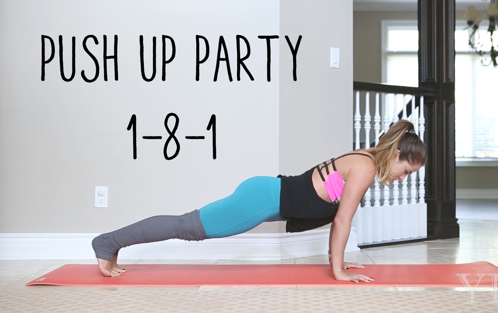 Pin now and join in for a push up party!  Wearing: alo yoga pants, sweaty betty tank, onzie bra.