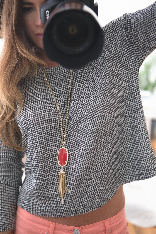 Wearing: necklace c/o rocksbox, long sleeve shirt, hudson pants (on sale), kendra scott necklace