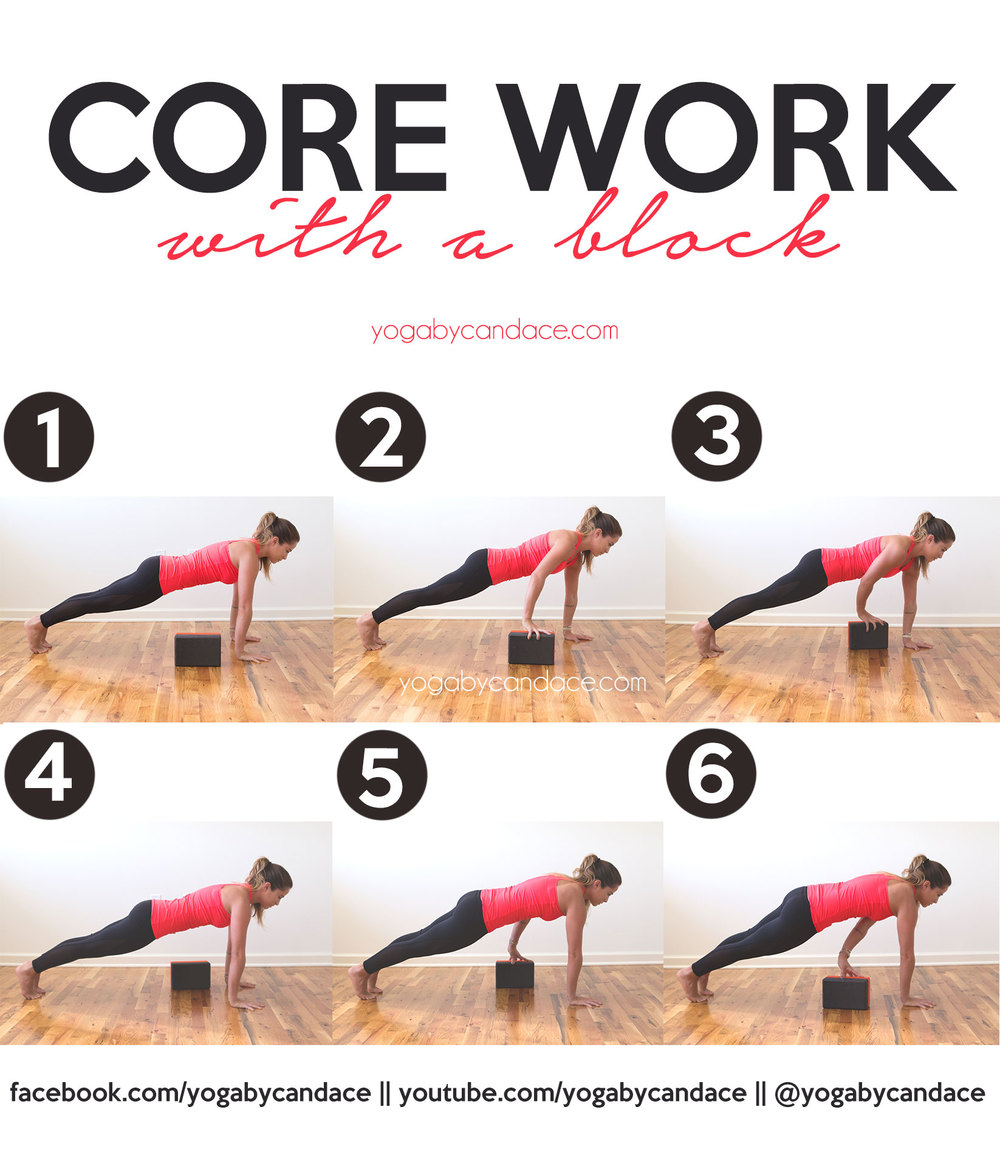 Pin now, practice later! This plank sequence will work the core!   Wearing:  Kira Grace mesh insert leggings  (also come in  white ), Sweaty Betty top (old) ( similar ) Using:  clever yoga block  c/o