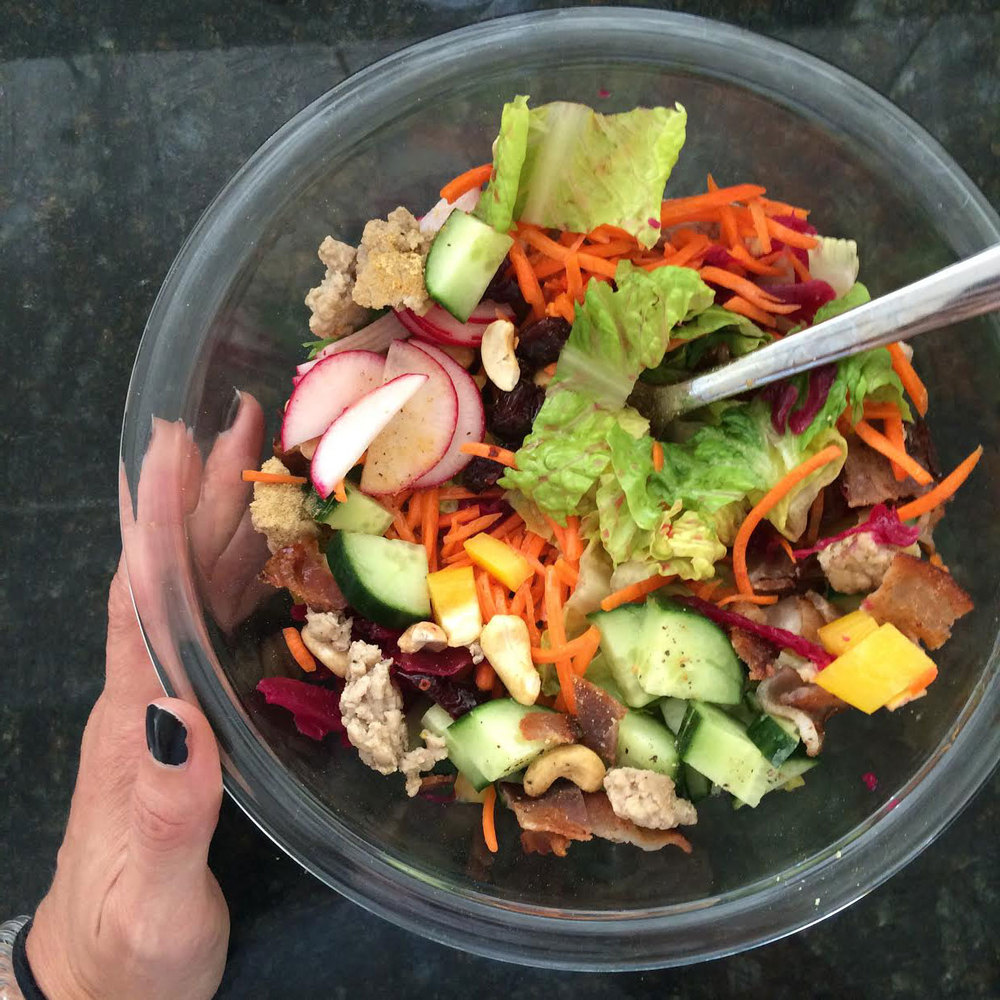 Salad - and yikes, I could use a manicure!