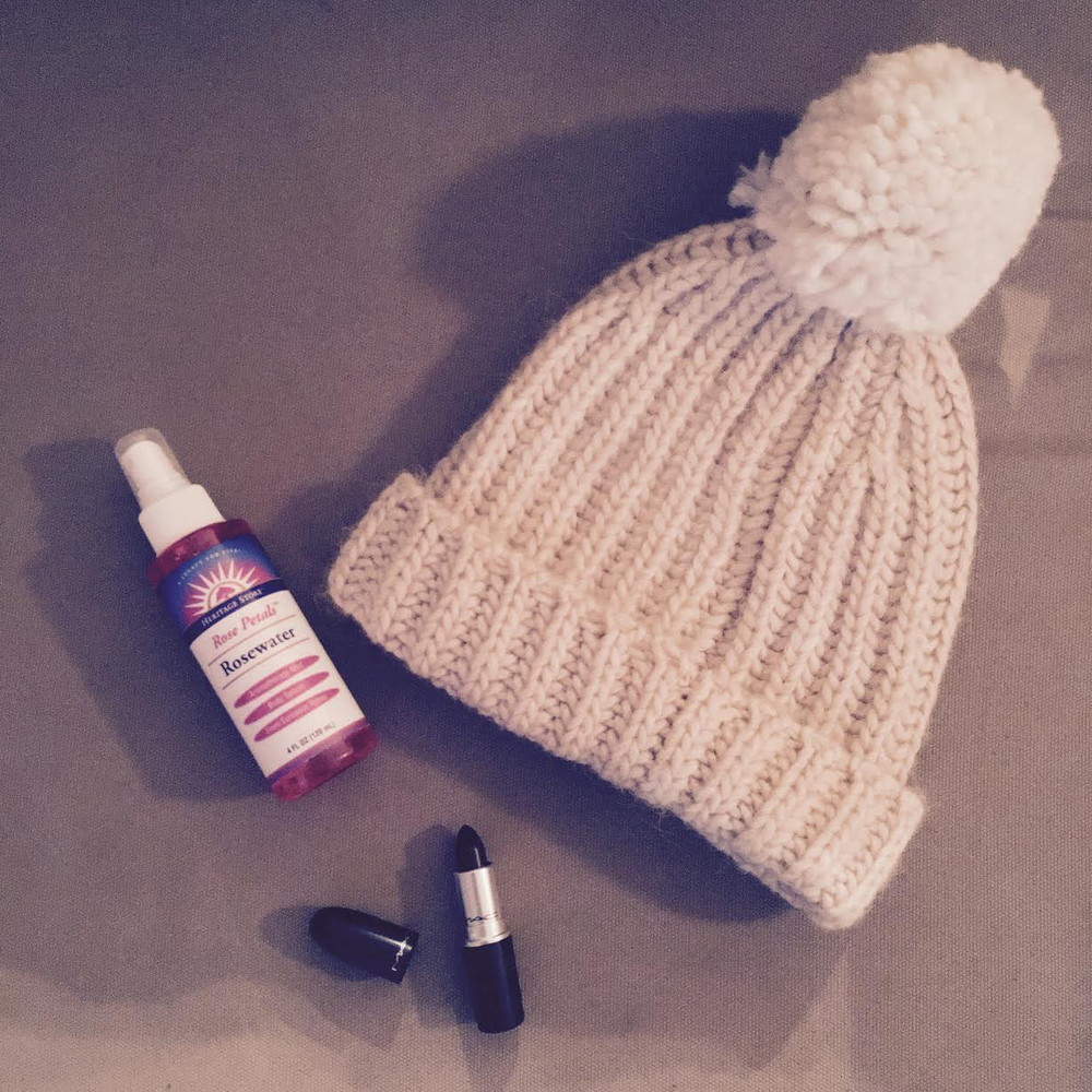 New buys: hat from j crew, rosewater toner, new lipstick in media