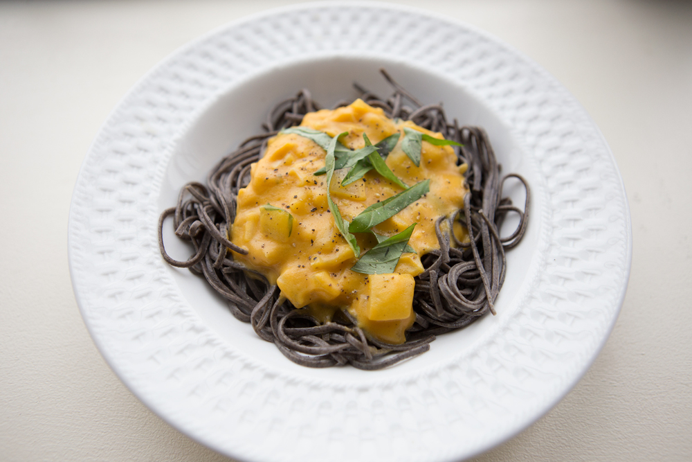 Pin now, make later! Black bean pasta and butternut squash sauce