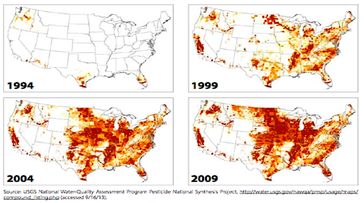 widespread neonic use from 1994 to 2009