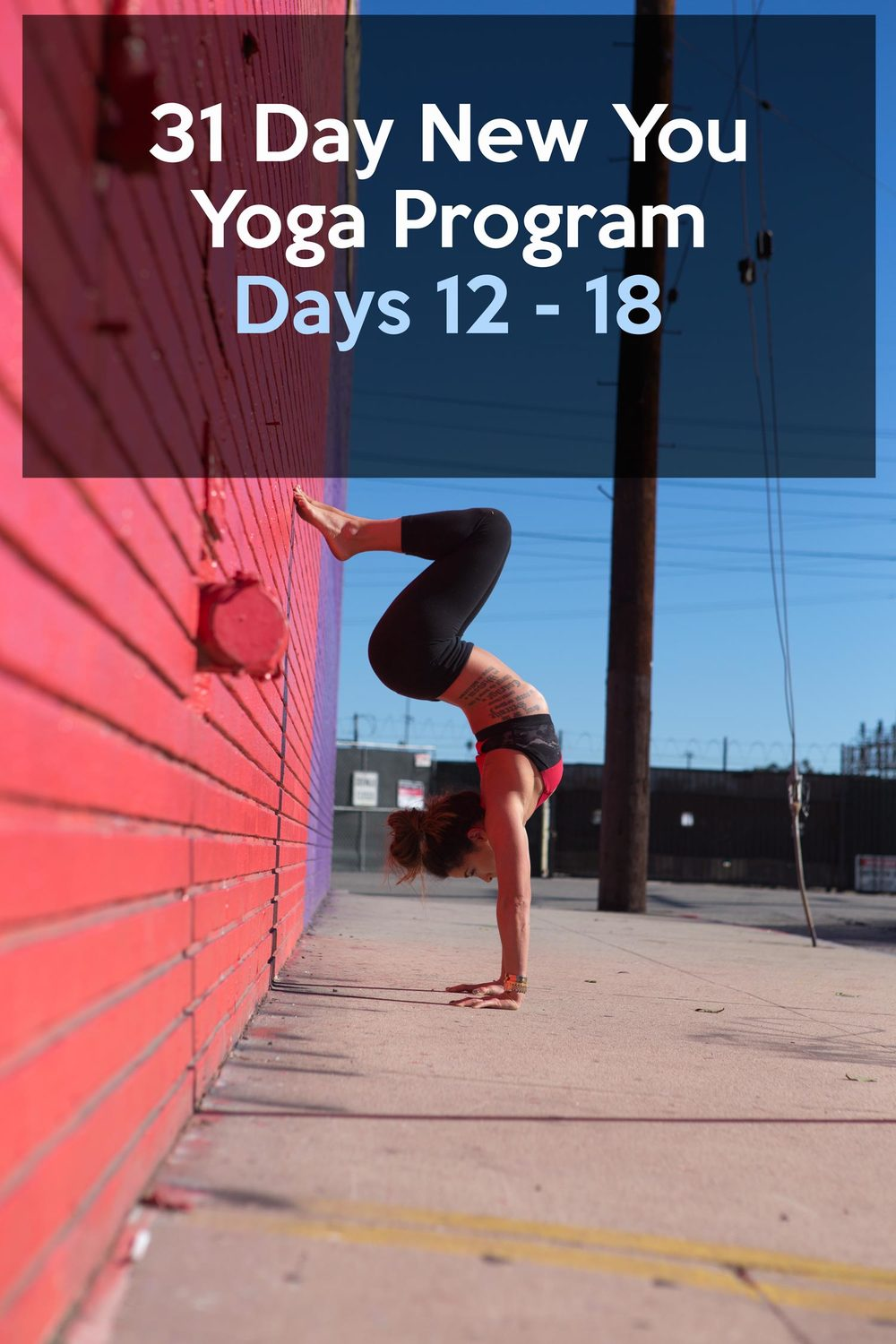 Pin now and join in the 31 Day New You Yoga Program, Days 12 - 18 of the schedule. Wearing: alo yoga bra, lululemon leggings