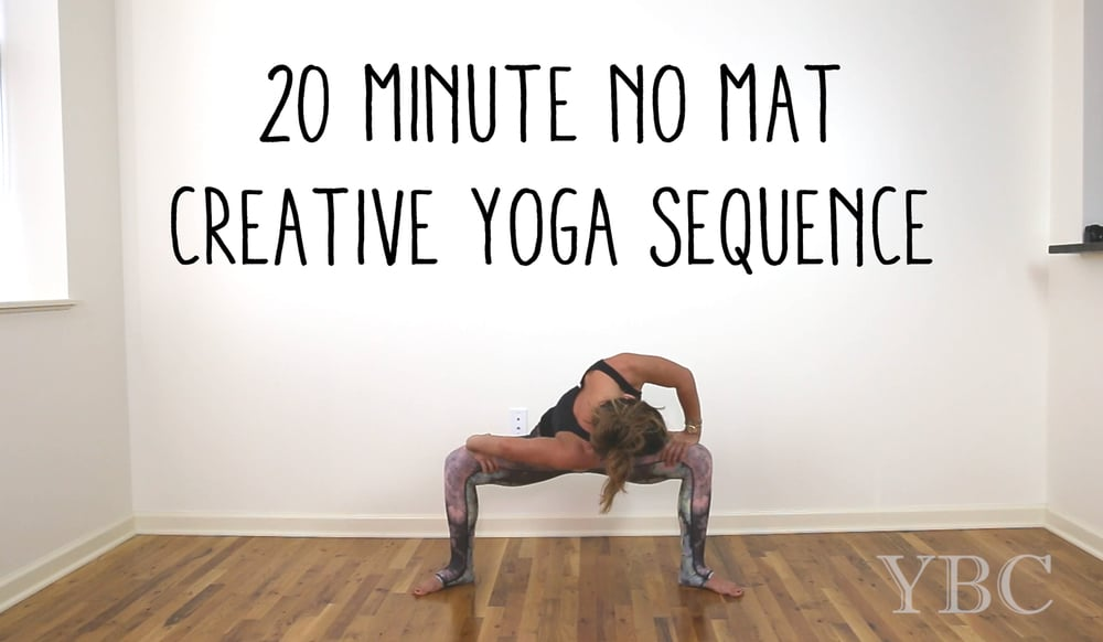 Pin now, practice later - 20 minute no mat creative yoga sequence!   Wearing:  Teeki pants ,  Splendid top .  Lady Danger lipstick .