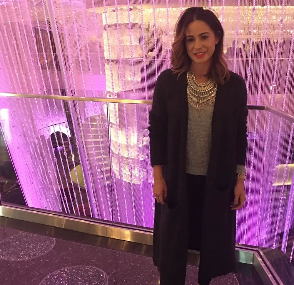 At The Cosmopolitan   Wearing:  free people duster cardigan ,  free people necklace .