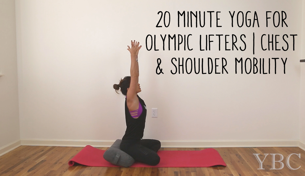 Pin now and practice later! 20 Minute Yoga for Olympic Lifters - chest and shoulder mobility Wearing:Moto Leggings&tankc/o Evolve Fitwear. Bra by Sadhana Clothing.
