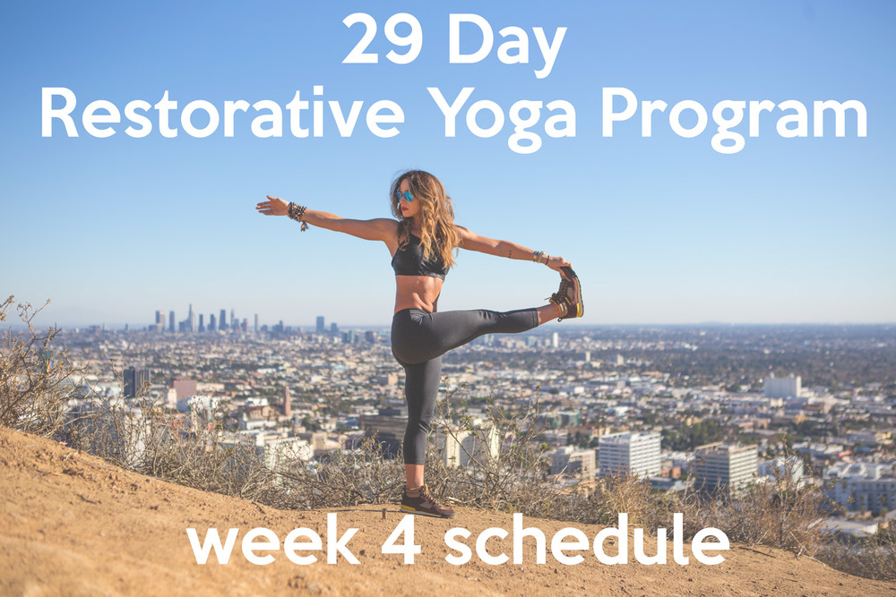 Pin now, practice later! Week 4 of the 29 Day Restorative Yoga Program  Wearing:  Onzie bra ( on sale !),  lululemon leggings .