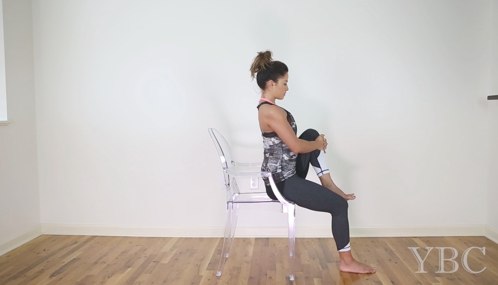 Practice now! 12 Minute Chair Yoga for Travel and the Office Wearing: vimmia pants (now on sale!), alala tank (diff color on sale!) Using: ghost chair (now on sale!)