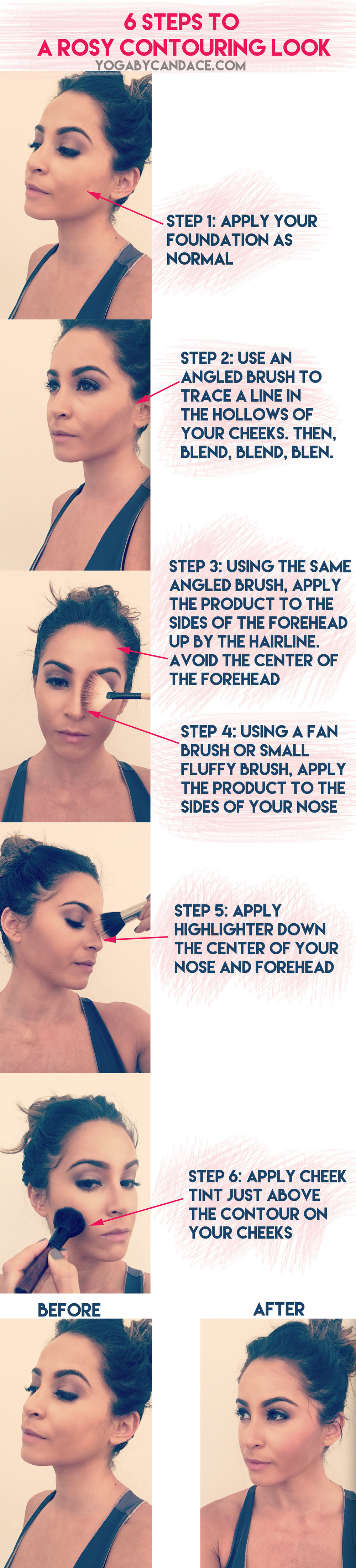 Pin now, practice later: 6 steps to rosy contour look Using: Tata Harper contour, highlighter and cheek tint