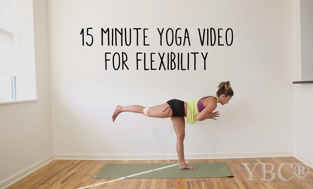 15 minute yoga video for flexibility  Wearing:  sweaty betty shorts , hard tail tank,  lanston sports bra .  Using:  Jade yoga mat