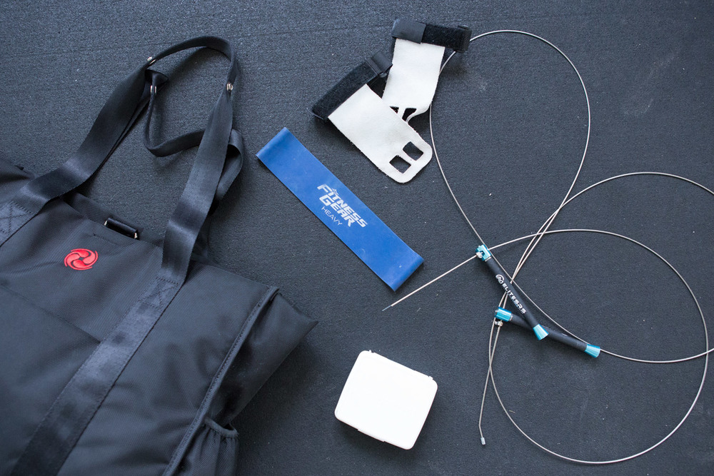 Gym hacks I swear by In my gym bag: resistance band, wire jump rope, grips
