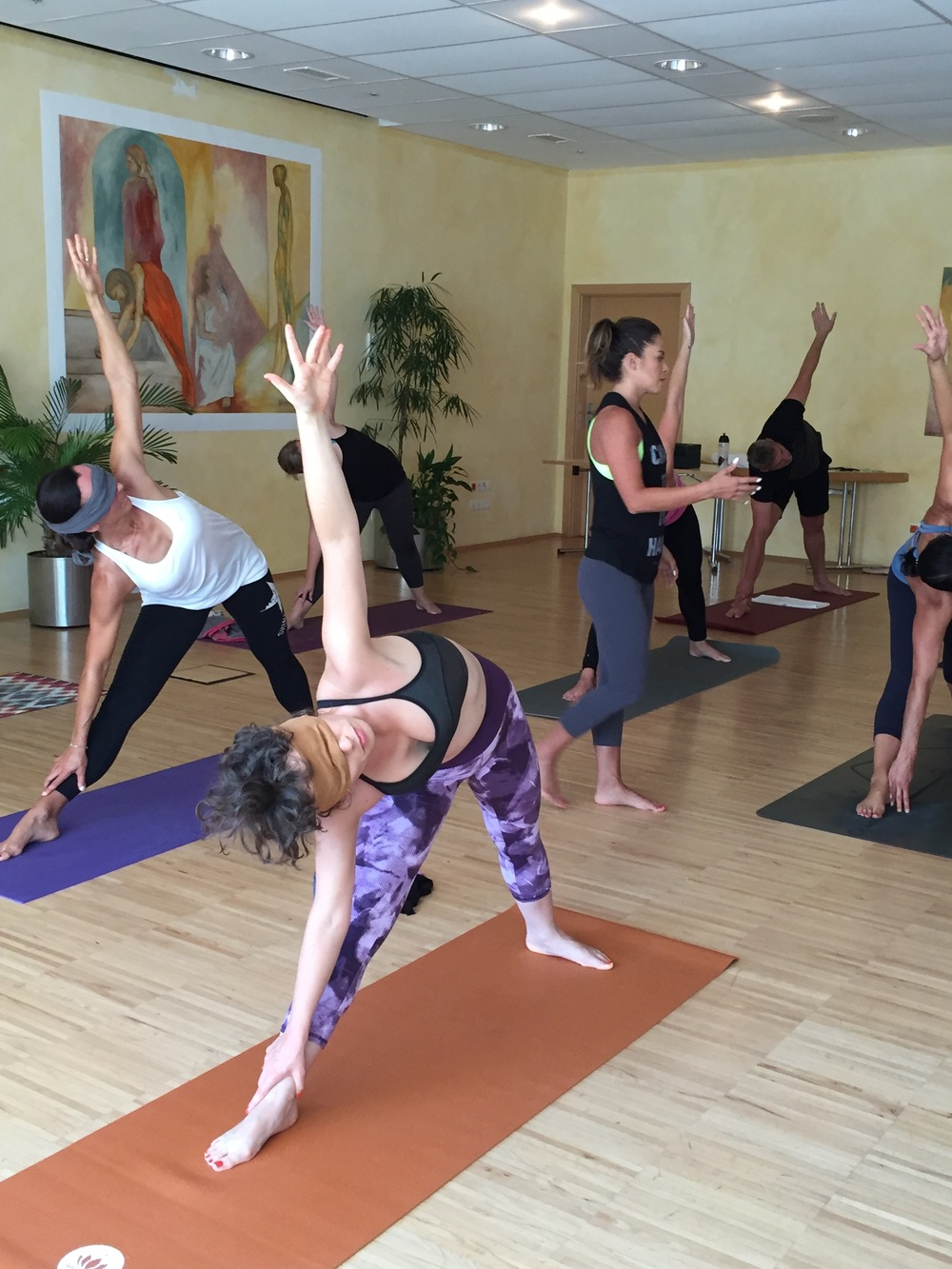 Blindfold yoga class