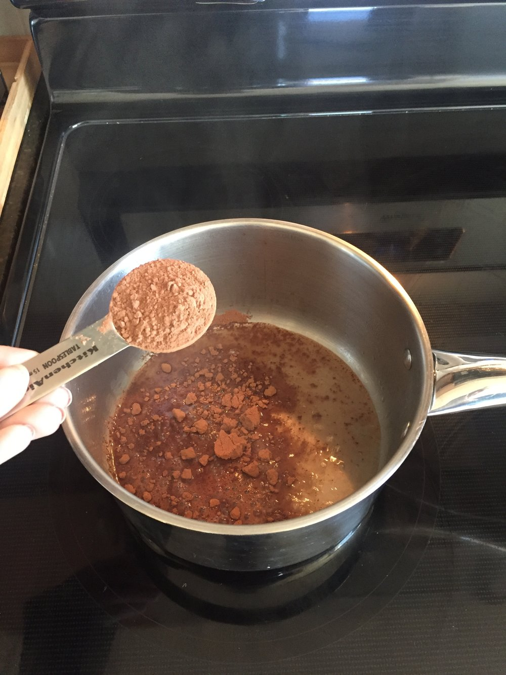 Step 1: whisk cocoa powder with boiling water