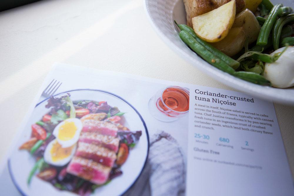 Meal 1: Coriander-crusted tuna Nicoise
