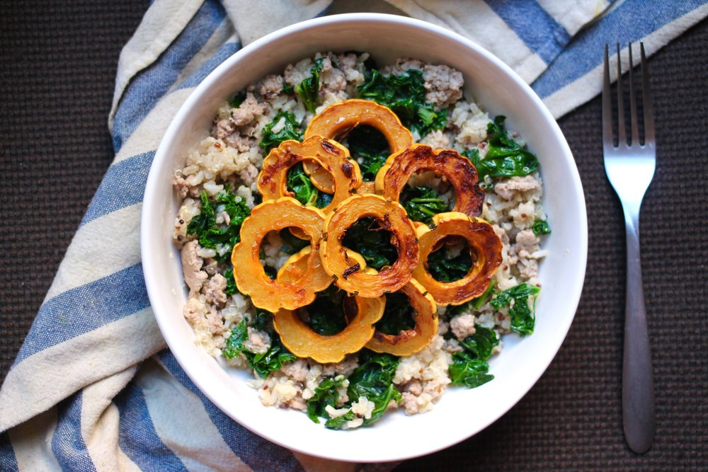 Turkey, Kale, & Delicata Squash Bowl, in all of its glory.