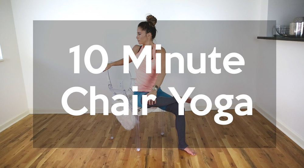 Follow us on Pinterest  and pin this image for easy reference to our Ten Min Chair Yoga Sequence